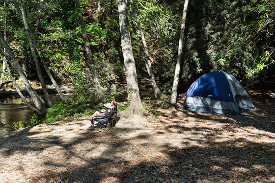 Camping alongside the Big Sur River