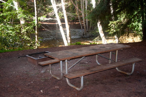 Picnic table alongside the Big Sur River